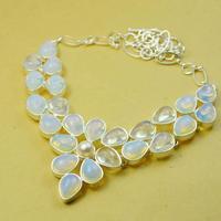 High Quatlity Fashion Bohemian Natural White Stone Sterling Silver Bijou Chevron Chunky Pearl Necklace Brand jewelry x3633