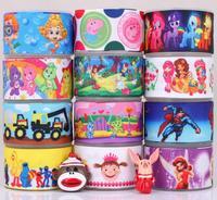 "Free shipping12 Yards Mixed 1""25mm peppa pig&princess&care bears&superman&winne&sesame grosgrain ribbon+Resin flat back  M19"