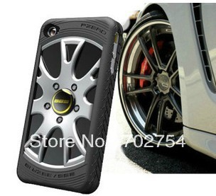 Free shipping!2013 New MIAK tire Car case for Iphone 5 5G silicon Electroplate Case with 3D Wheel Style Branded Car logo