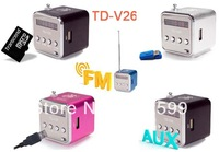300pcs DHL fast shipping TD-V26 portable speaker mini music player support USB/Micro SD/TF card + FM function with retail box