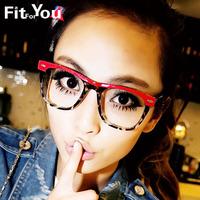 2012 fashion vintage eyeglasses frame lens female leopard print glasses big box myopia male