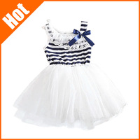 2013 summer fashion new baby girl ball gown dress lace+cotton material 3 colors age 0-2