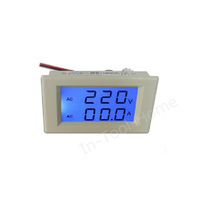 Digital Blue LCD AC100-300V Volt&Amp Ammeter voltage dual display Panel Meter