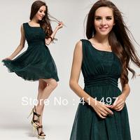 Mulberry Mini Short Green Silk Dresses Square Bony Neck Bandage design,USA&EU Stylish Beautiful Elegant Short Dresses