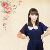 Mushroom peter pan collar high waist short-sleeve dress paillette batwing sleeve one-piece dress h-358