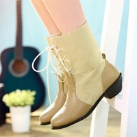 Fashion vintage medium-leg thick heel boots round toe front strap patchwork thick heel boots motorcycle boots autumn and winter