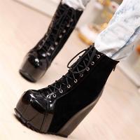 Fashion wedges shoes women's vintage front strap elevator boots female boots platform color block decoration gladiator boots