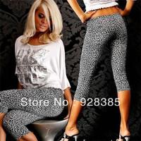 2013 Summer Woman Fashion Leopard Capri Leggings Print Jeggings pants seamless Stretchy Free shipping  #C7042