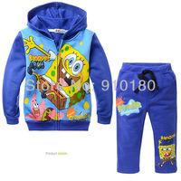 New arrivals 5sets/lot Winter children fleece clothing set/Baby boys girls cartoon spongebob set/Hoodie+Pants 2pcs suits