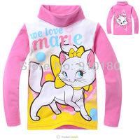 Wholesale 6pcs/lot baby girl long sleeve cartoon marie cat 100% turtleneck T-shirt /children clothes
