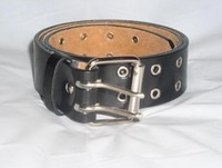 Two 2 Double Row BLACK Leather Belt with Silver Grommet Holes and Buckle Pick