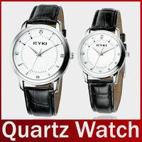 Famous Brand Eyki E-time Fashion Leather Band Vintage Lovers' Quartz Watch For Men Women Lady Bracelet Wristwatch Free Shipping