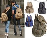 khaki Mens Vintage Canvas Hiking Travel Military Backpacks Messenger Bag Top Quality  Free Shipping