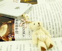 Free shipping Min.Order $10 fashionable phone accessories epoxy bow bear earphone jack plug