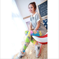 Free shipping 2013 New Korean female flowers Colorful fluorescent printing cotton leggings pantyhose comfortable high elasticity