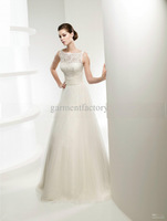 Simple Ivory Lace Top Tulle Wedding Dresses High Neck A-line Brush Train Wedding Dress Bridal Gown