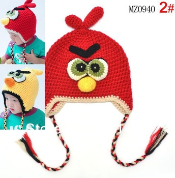 2013  child Handmade Crochet Hat Animal Styles Baby bird   hat Kids cap,keep warm in winter !Free shipping 10pcs/lot