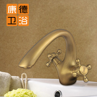 Fashion antique basin antique brass big bend cold and hot water basin (KP)