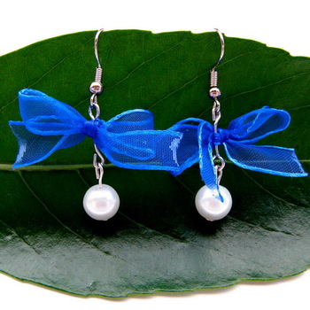 free shipping Handmade diy blue usuginu ribbon simulated-pearl bow beads pendant earrings earring gentlewomen ol