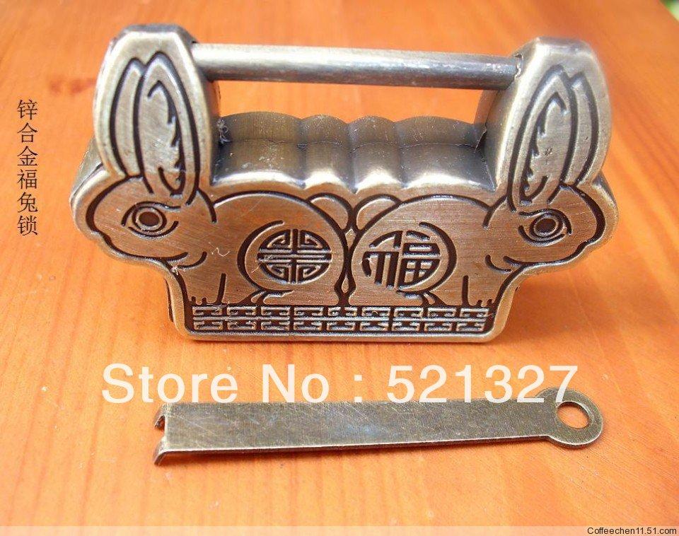 Rabbit Antique lock open cross blessing word lock padlock rabbit pitch 29MM vintage jewelry box lock padlock(China (Mainland))