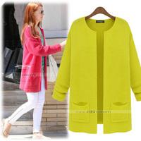 Korean 2013 Autumn Fashion Outerwear 4 Colors O-neck Long-sleeve Medium-long Plus Size Loose Casual Women's Cardigans Sweaters