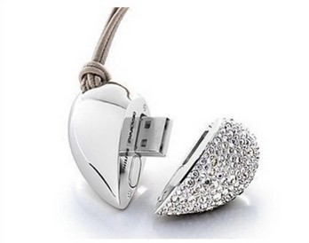 Wholesale Crystal Silver Heart 4GB 8GB 16GB 32GB 64GB USB 2.0 Flash Memory Stick Drive Thumb/Car/Pen Free Shipping Gift