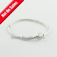 Authentic 925 Sterling Silver Snake Chain European Bracelet with Clasp, DIY Jewelry Findings, Compatible With Pandora Style