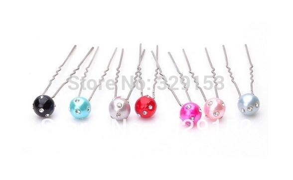 Hot sale Nice Bridal pearl with shinning crystal diamond Hair Pin 7*1.0*1.0cm PVC Box Packing 10 color mix 200pcs/Lot(China (Mainland))