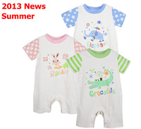 9pcs/Lot (0-1Y) children kids toddlers baby Boy's Girl's short Romper For 2013 Summer.100%Cotton Stripped Jumpsuit,