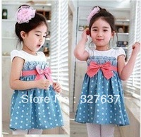 2013 New Fashion Polka Dot dress 5pcs/1lot girls clothing beautiful Princess dress girls bowknot dress