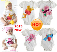 16pcs/Lot (0-1.5Y) children kids toddlers baby girl's boy's short Bodysuit For 2013 Summer.100% Cotton Cartoon Jumpsuit