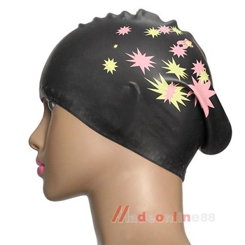 Silicone Swimming Cap Hair Protector Ear Wrap Waterproof Hat Black M3AO