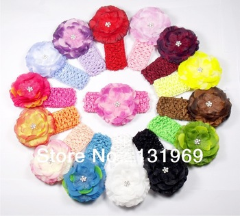 "15 sets Baby Girls Toddler Infant 1.5"" Crochet Stretch Headband + 3.5'' Rhinestone Jewel Center Flower Clip  Bow Headwear"