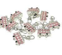 Free shipping!!!Zinc Alloy Lobster Clasp Charm,Sexy Jewelry, Bus, enamel, nickel, lead & cadmium free, 17x28x6mm