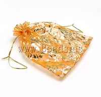 Free shipping!!!Jewelry Drawstring Bags,Elegant, Organza, printing, translucent, orange, 130x180mm, 100PC/Bag, Sold By Bag