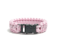 Free shipping!!!Survival Bracelets,Cheap Jewelry, 550 Paracord, with Plastic, handmade, pink, 23mm, Length:Approx 9 Inch