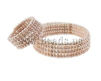 Free shipping!!!Natural Cultured Freshwater Pearl Jewelry Sets,2013 new men, Round, natural, pink, 5x6mm, Length:7.5 Inch