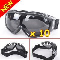 Hotsale 2013 10 Adjustable Black Lens Motorcycle Bike ATV SKI TACTICAL Goggles GLASSES Free Shipping