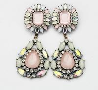 Free shipping new design 2013 fashion white flower drop earring fashion jewellery length 10.3cm