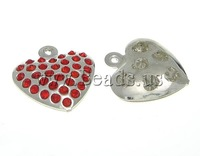 Free shipping!!!Brass,Men Jewelry, Heart, platinum color plated, with rhinestone, mixed colors, nickel, lead & cadmium free