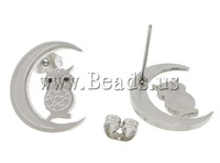 Free shipping!!!Stainless Steel Jewelry Sets,2014 Fashion, pendant & earring, Moon, enamel, oril color, 13x15mm, 27x35x2mm