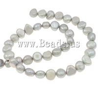 Free shipping!!!Potato Cultured Freshwater Pearl Beads,Bulk Jewelry, grey, AA, 9-10mm, Hole:Approx 0.8mm, Length:15 Inch