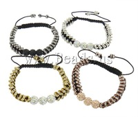 Free shipping!!!Brass Shamballa Bracelets,european style, with Clay & Rhinestone & Brass, mixed colors, nickel