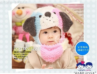 2pcs/set Korean Cute Dog Shaped Color Patch Children Caps Scarves Velvet Material Kids Head Accessories Sets Pink/Rose Red Hat(China (Mainland))