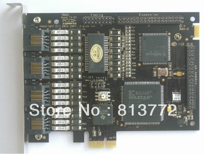 TE420 PCI-Express card 4E1T1 J1 digital asterisk card support ISDN PRI SS7 for trixbox elastix voip ip pbx(China (Mainland))
