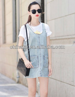 fg1703 New 2013 Sleeveless Dress Shoulder-straps Vest Jeans Free Shipping