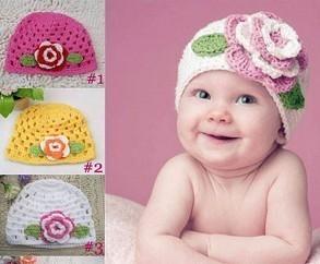 Hand Crochet Baby Flower Hat, Spring Knitted Girls' Flower Cap, Handmade Baby Hat, Kids Infant Beanie 10pcs/lot Free Shipping
