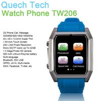 "New Design Smart Cell Phone Watch TW206 GPRS 1.6"" Screen Camera TF SIM Card Bluetooh Unclocked 500mAh Battery DHL Free Shipping"