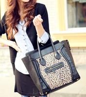2013 Korean Version Of New Double-sided Leopard Fur Embarrassing Word Smiley Shoulder Bag Handbag BG1078