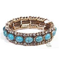 Minimum Order $20 (mixed order)  Shipping vintage gold large particles turquoise gem full rhinestone elastic bracelet